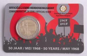 "Belgien 2 Euro 2018 ""Studentenrevolte Mai 1968"" in niederl. Coincard"