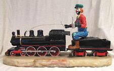 """Huge Ron Lee 20"""" Hobo Clown Riding a Train Engine Signed by Ron Lee Low LE #"""