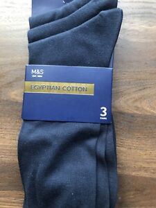 Marks And Spencers Mens Blue Socks 9-12 , 3 Pairs
