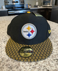 Pittsburgh Steelers NFL New Era 59Fifty Sideline Size 7 1/2 Flat Fitted Hat Cap
