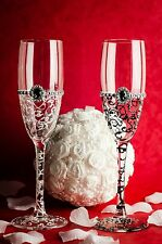 Mr&Mrs Hand Painted Wedding Bride and Groom champagne glasses Mr&Mr Mrs&Mrs