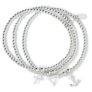 Sterling Silver Ball Bead Bracelet Set of 3 Love, Hope and Charity Charms