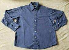 Yves Saint Laurent Men's Blue Long Sleeve Embroidered Logo Dress Shirt Size 42