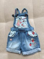 Next UK Denim Coverall Shorts Size 9-12 Month With Bunny Mouse Flowers Cutie