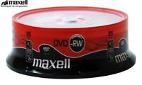 Maxell DVD-RW 4.7GB 2x Speed 120min Rewritable DVD Discs Spindle Pack 25