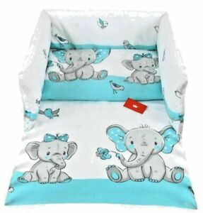 BEDDING DUVET COVER SET WITH BUMPER FOR BABY COT 100x135CM Cute Elephant Blue