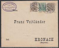 38969) HANNOVER 1911 Privatganzsache mit ZuF nach Kronach