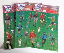 3 x 1998 MERLIN Calcio Premier League SUPERSTAR Adesivi Fogli (A)