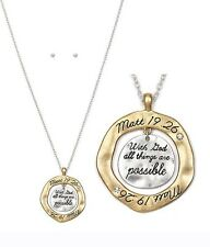 With God All Things Are Possible 2 Tone Necklace Scripture Message US SELLER