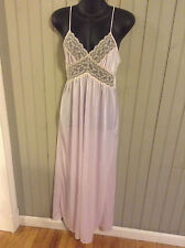 Stunning! Vintage Small Jc Penny rose pink nightgown with tan lace trim
