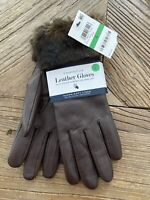 CHARTER CLUB Women's Faux Fur Cuff Leather Tech Gloves Size L, Brown, Brand New