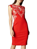 KAREN MILLEN RED EMBROIDERED OCCASION EVENING SHIFT PENCIL DRESS 6 - 16
