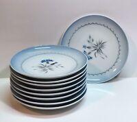 Bing Grondahl Kjobenhavn Cornflower Blue Edge Denmark Bread Plates Set Of 9