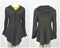 Womens Hannes Roether Knit Tunic Blouse Shirt Grey Hooded Cardigan Size M
