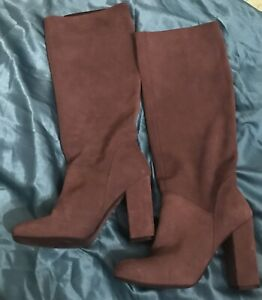 Size 3 Knee Boots Taupe Brown Faux Suede  Block Heel