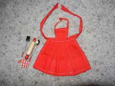 1960'S VINTAGE ORIGINAL BARBIE PAK RED APRON & COOKING UTENSILS