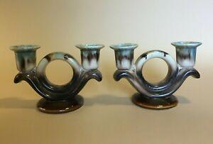 Set of 2 Vintage German Mottled Glaze Candlestick Holders - Brown/Blue Ceramic