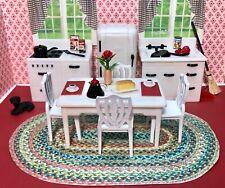 New ListingRenwal White Kitchen W/ Jaydon Chairs Vintage Dollhouse Furniture Plastic 1:16