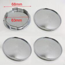 4Pcs Universal 68mm Silver Chrome Car Wheel Center Hub Caps Covers Accessories