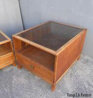Vintage Danish Mid Century Modern Walnut End Table w Smokey Glass
