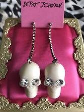 Betsey Johnson Vintage Nautical Ivory White Crystal Lucite Skull Earrings RARE