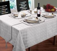 "CHRISTMAS WOVEN CHECK JACQUARD SILVER TABLECLOTH 52"" X 70"" 4 NAPKINS 4 PLACEMATS"