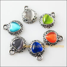 6 New Retro Charms Tibetan Silver Cat Eye Stone Heart Pendants Mixed 13x16mm