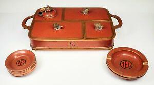Antique Chinese Cloisonné Enamel Smoking Tray Set w/ 8 Ashtrays
