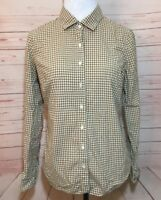 J Crew Perfect Shirt Size 4 Brown White Gingham Check Top