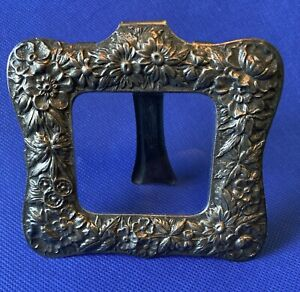 Antique Sterling SILVER Floral Repousse KIRK & SON small picture FRAME
