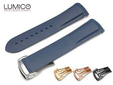20 22mm For OMEGA Watch NAVY BLUE Rubber Strap Band Clasp SeaMaster Planet Ocean