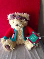 HALLMARK Merrily Girl Teddy Bear Plaid  Holiday Plush Stuffed Animal Toy New
