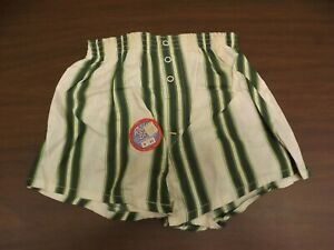 Robby Boy Vtg 1950s NEW Boys Sz 8 Green Stripes 3 Snap Cotton Boxers Underwear