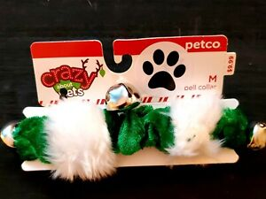 Petco Crazy About Pets Dog Christmas Holiday Collar Green/White Medium w/ Bells