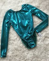 New GK ELITE Leotard GYMNASTICS Dance Skate COMPETITION Turquoise #094B Sz: AS