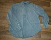 Polo Ralph Lauren Men's Size XXL Blue Denim Faded Cotton Long Sleeve Shirt