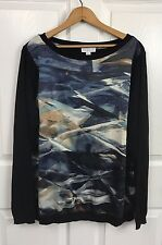 Susan Graver Womens Printed Front Panel Sweater Top Blouse Black Size L Large