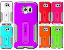 For Samsung Galaxy S6 G Case HYBRID KICKSTAND Rubber Phone Cover +Screen Guard