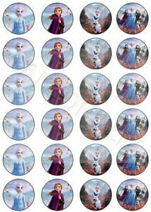 Disney Frozen 2 With Elsa Anna Olaf on 24 x Edible Cup Cake Cupcake Toppers