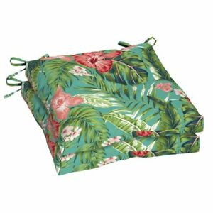 """Better Homes & Gardens 2 Set Teal Tropical Floral 19x18"""" Outdoor Seat Cushions"""