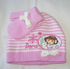 Dora The Explorer Girls Pink White Stripe Acrylic Beanie & Mittens New