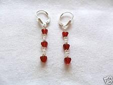 Carnelian Heart & Swarovski Crystal SS Earrings