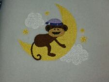 Personalized Embroidery Baby Blanket  with a Monkey on the Moon