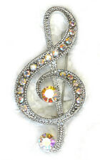 Treble Clef  Music Note Brooch Pin Sparkling AB Crystal