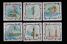 Rebecca Moses Printed Tile Set of 6 Coasters with Cork Backing