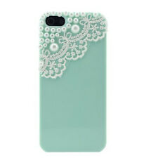 Pearl  Lace Rubber Hard Back Case Cover for Apple iPhone 5 5S SE Women Green