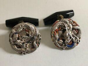 Antique Chinese Silver & Enamel Peking Glass Mens Cufflinks - Late Qing
