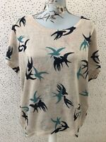 Apricot Oatmeal Blue Bird Pattern Top Size S/M