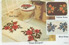 Rare Vintage Rose Bouquet Bath Mat Rug Latch Hook Canvas