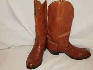 VINTAGE LUCCHESE BROWN OSTRICH BOOTS SIZE 10D  09478